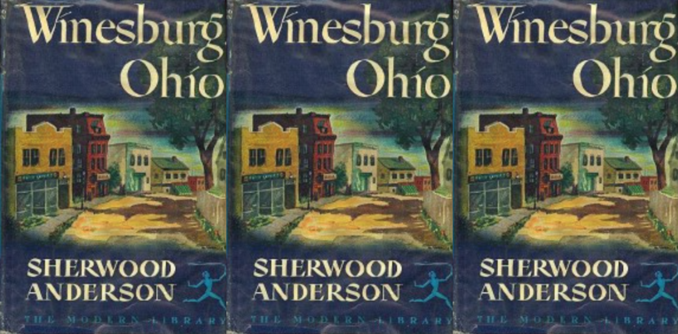 side by side series of the cover of the book Winesburg, Ohio