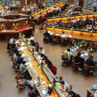 A photo of students studying in a campus library
