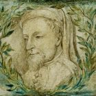 A stone engraving of Geoffrey Chaucer's head surrounded by a wreath