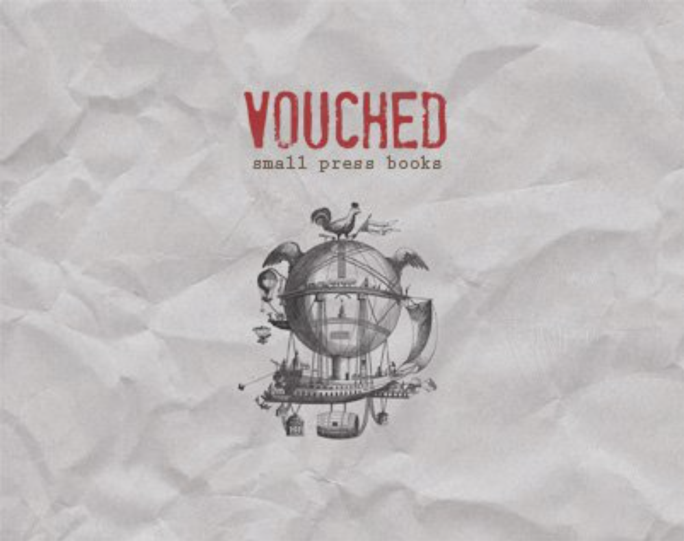 Vouched Small Press Books logo on a sheet of wrinkled paper