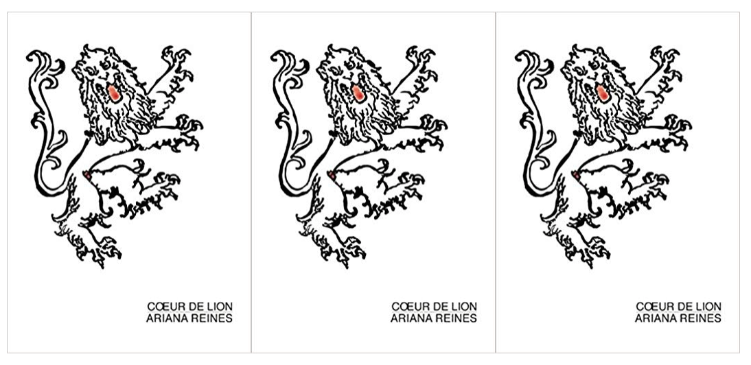 side by side series of the cover art for Coeur de Lion by Ariana Reines