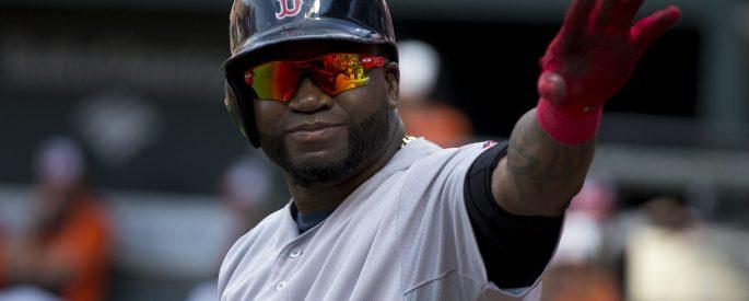 Photograph of David Ortiz in Boston Red Sox uniform and helmet