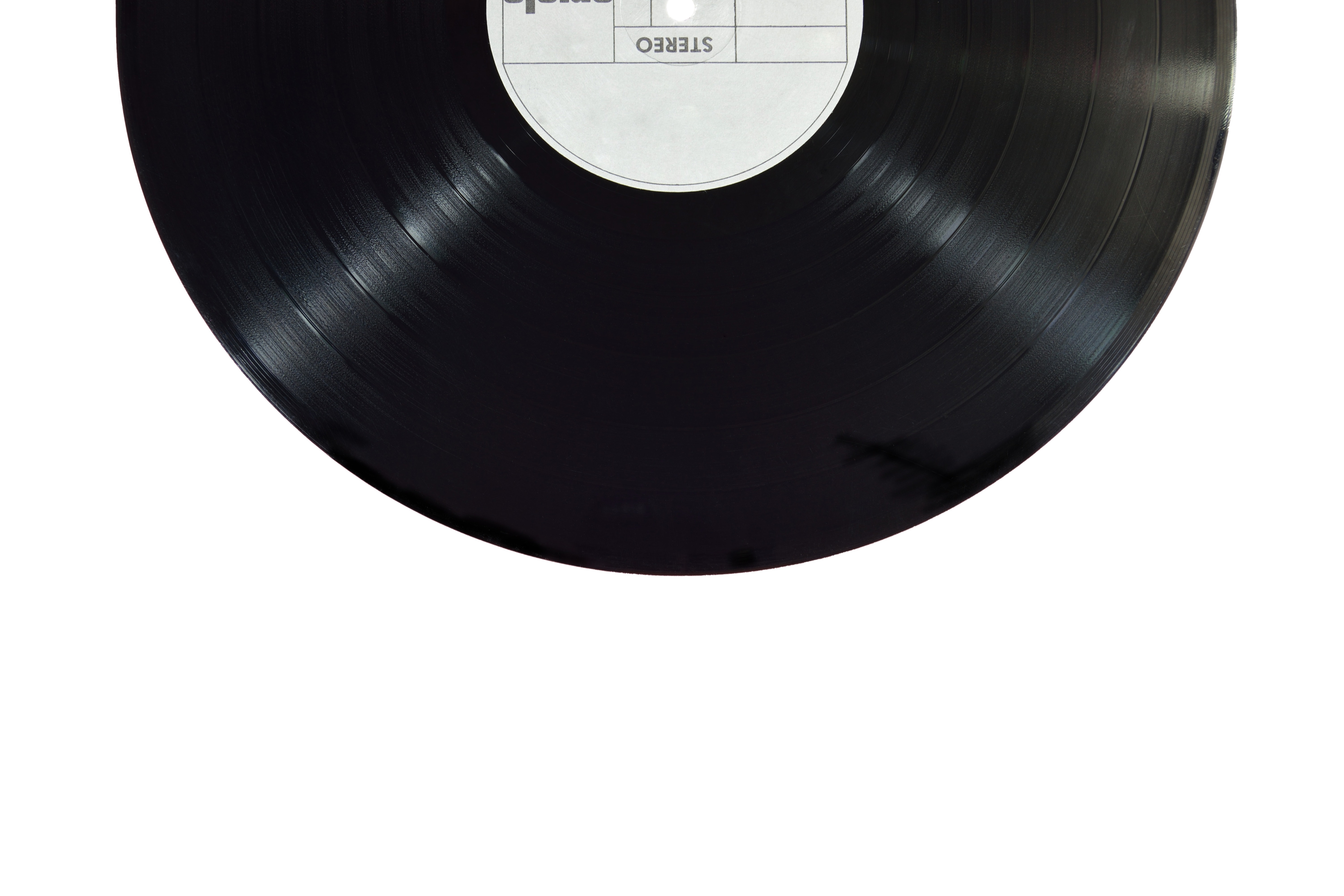 Black and white photograph of a music record