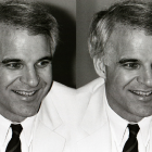 Black and white photograph of Steve Martin