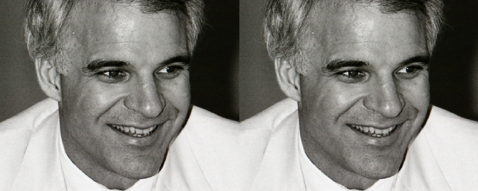 Black and white photograph of Steve Martin