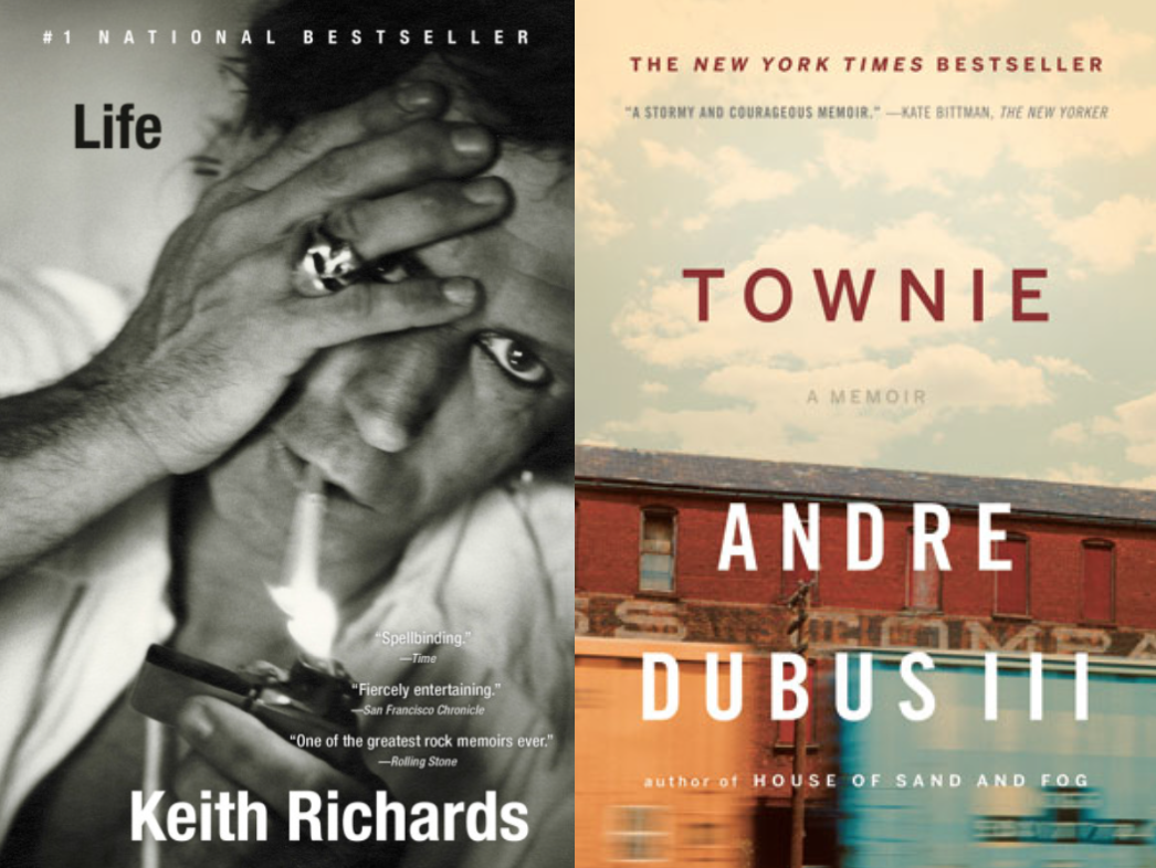Cover art for Life by Keith Richards and Townie by Andre Dubus III