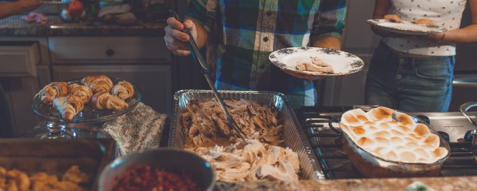 Photograph of a Thanksgiving dinner spread