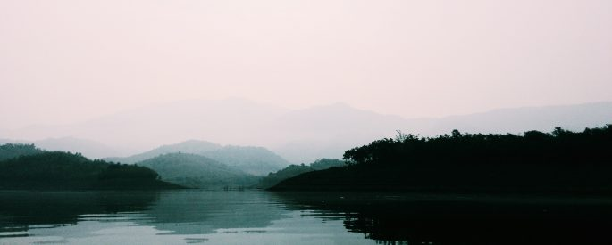 Photograph of a calm lake amongst trees and fog