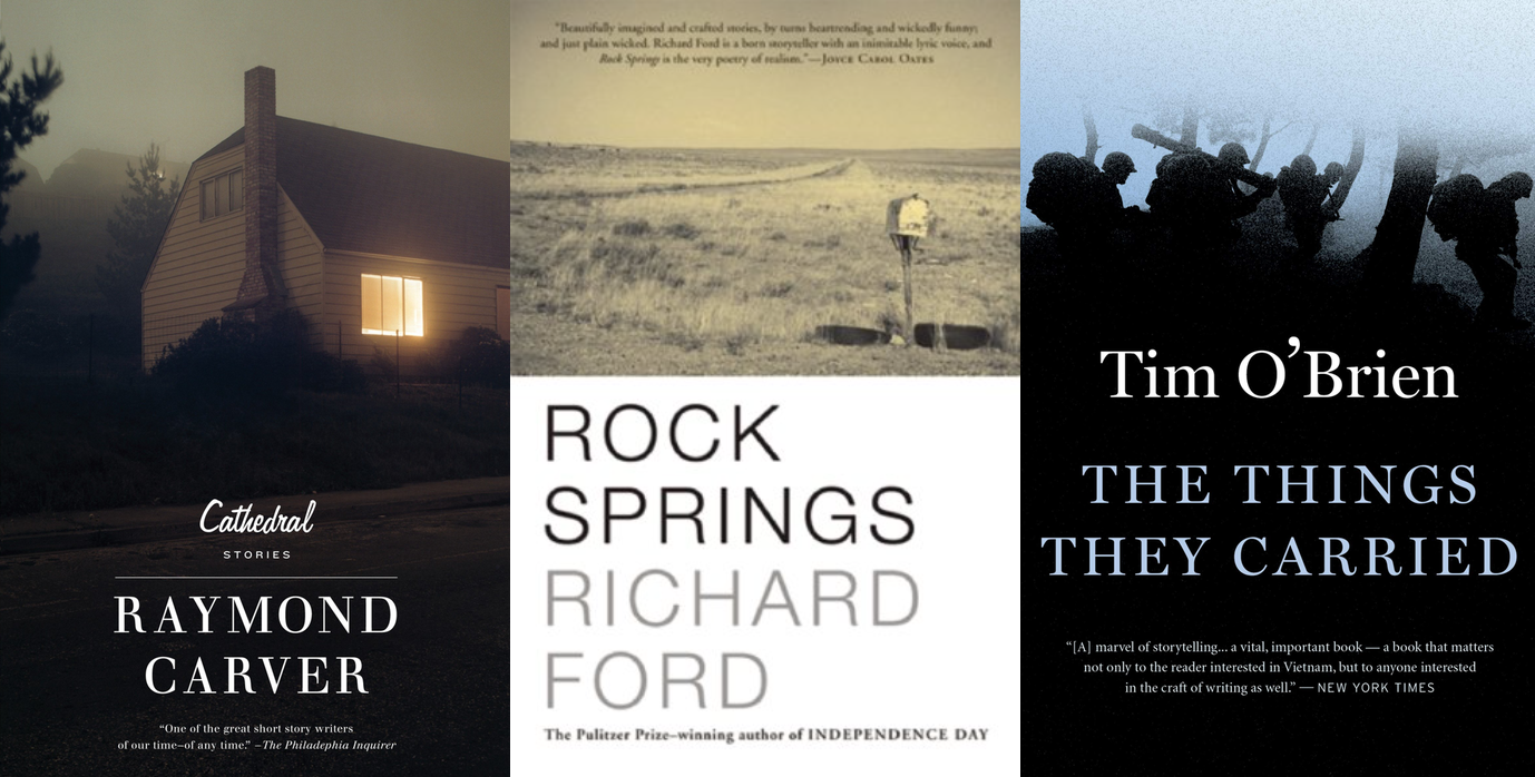 Cover art for short story collections Cathedral by Raymond Carver, Rock Springs by Richard Ford, and The Things They Carried by Tim O'Brien