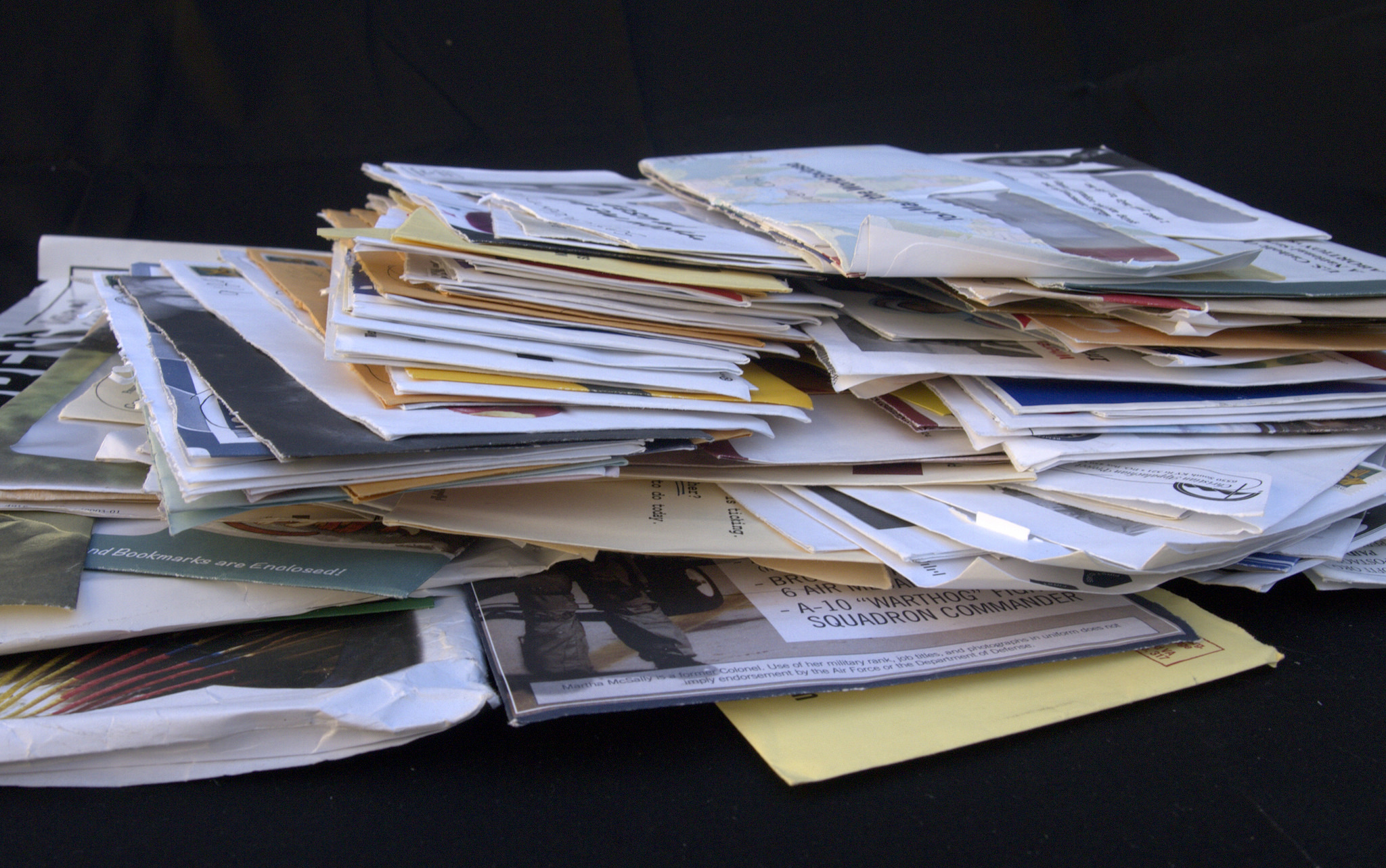 Photograph of a pile of mail