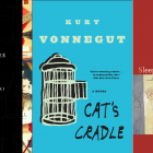 Cover art for House of Leaves by Mark Danielewski, Cat's Cradle by Kurt Vonnegut, and Sleeping with the Dictionary by Harryette Mullen