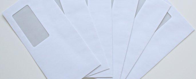 Photograph of plain white empty envelopes