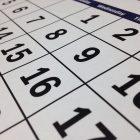 Closeup photograph of the daily cells on a calendar