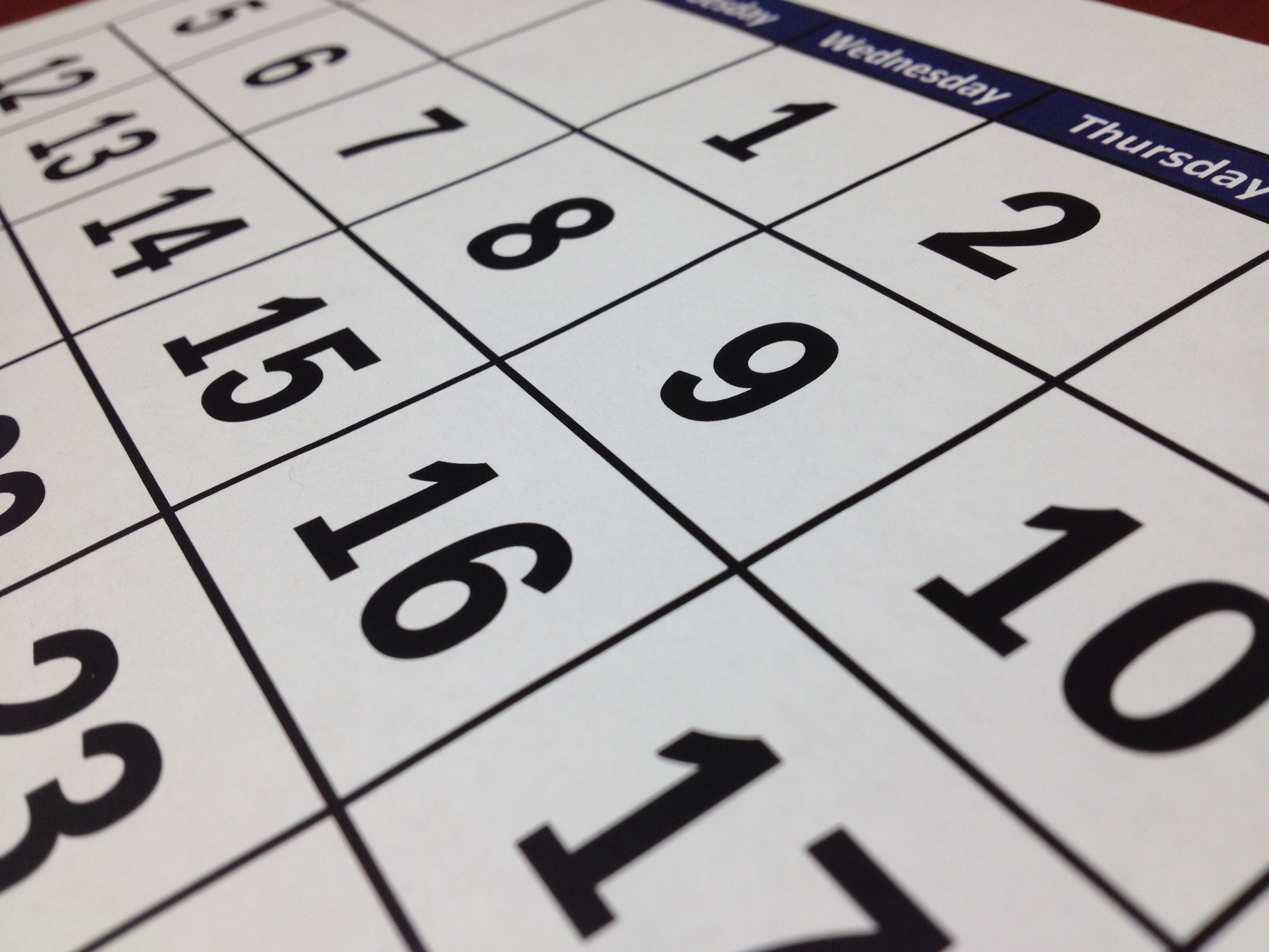 Closeup photograph of the daily cells on a calendar
