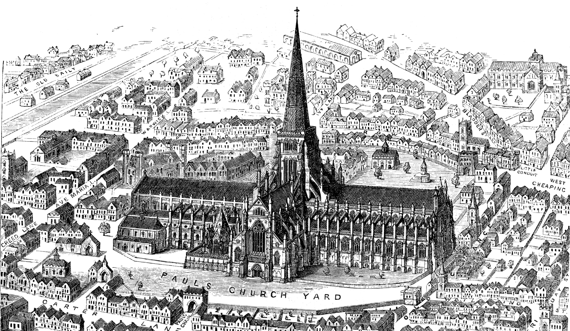 Old Victorian sketch of St. Paul's Cathedral in London