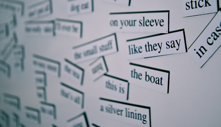 A collection of words printed on magnets