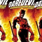 The cover of the comic book Daredevil, with a man wearing a red suit holding a weapon, and fire surrounding him in the back.