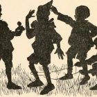 Cartoon illustration of a group of silhoutted children laughing