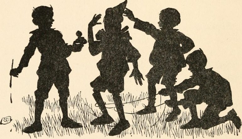 cartoonish and silhouetted group of children laughing