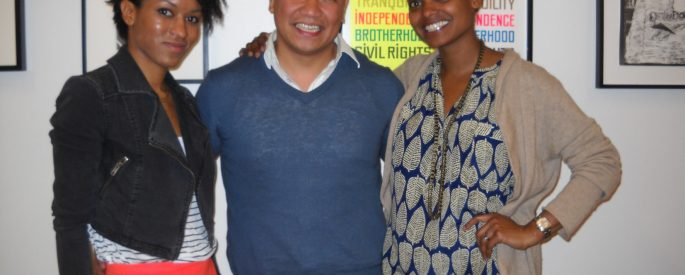 photograph of Camille Rankine, Patrick Rosal, and Tracy K. Smith posing together for the photographer