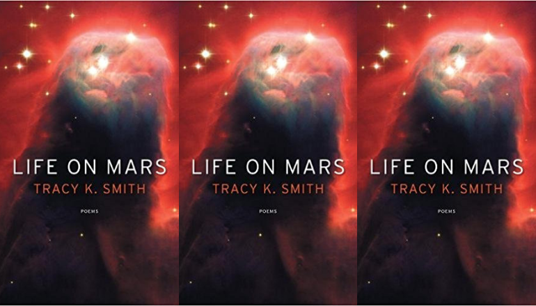 image is a side by side series of the cover of tracy k. smith's life on mars