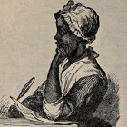 A young Phillis Wheatly sits poised ready to write with one hand holding a pen and paper, the other propped under her chin.