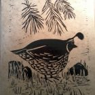 Carving for an ink print of a quail in a forest