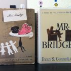 "Two books, ""Mrs. Bridge"" and ""Mr. Bridge"" are propped up side by side"