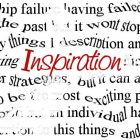 """inspiration"" in red letters floats among a myriad of other words"