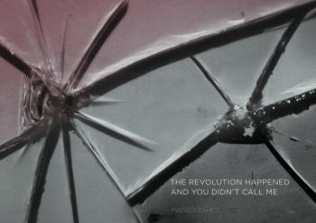"""up-close photo of broken glass with the caption """"the revolution happened and you didn't call me"""""""
