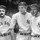 black and white photograph of three baseball players, but their faces have been photoshopped with the faces of JK Rowling, Edgar Allen Poe, and Shakespeare