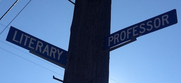 """photo of a street sign that bears the street names """"LITERARY"""" and """"PROFESSOR"""""""