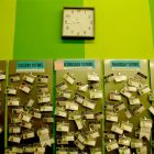 photo of a magnetic calendar beneath a large clock, separated into Monday, Tuesday, Wednesday, and Thursday tutors, which have IDs stuck to them