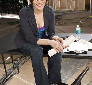 photograph of Tina Fey as Liz Lemon holding a script