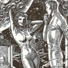 futuristic pencil drawing of a man and woman against the backdrop of a moon