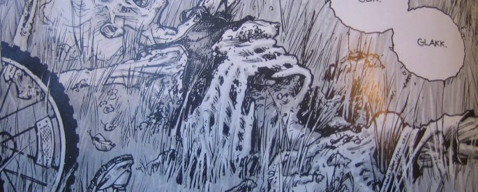 """photo of a page of Kirkman's """"The Walking Dead"""" comic featuring a skeletal figure lying on the grass with word bubbles containing """"Glik. Glack."""""""