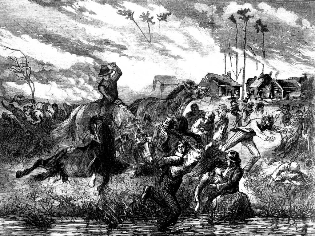 In an etching of the Peshtigo fire, people seek shelter as a man rides through them on horse-back.