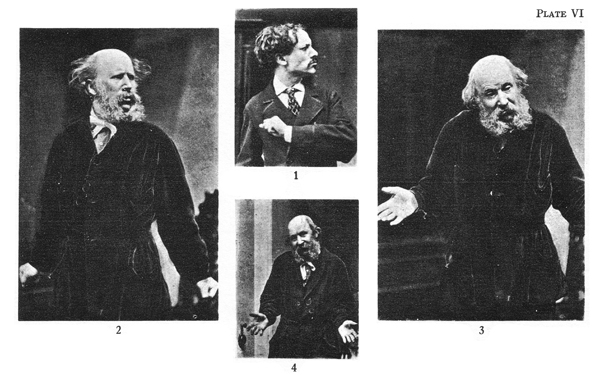 "Plate VI: ""Expressions of Emotions"" features four, grouped black and white photographs of two different men, one bald with a beard, the other, much younger, in expressive postures"