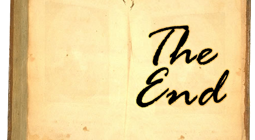 """ancient, battered-looking book with the words """"THE END"""" in calligraphy-esque writing displayed on the second page"""