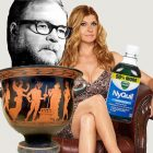 photoshopped image of a bottle of Nyquil, Connie Britton sitting in a chair, a piece of greek pottery and the black and white portrait of a man