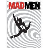 the cover of the Mad Men television series - features the silhouette of a man in a suit and tie falling in a black and white spiral