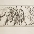 In a procession, characters in the style of Ancient Greek dress, with various ancient weapons, walk in an etching.