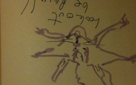 """marker drawing of a flying squirrel on a piece of dark paper, the squirrel is illustrated to be saying """"look out below"""""""