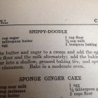 "a photograph of a page from a recipe book with the headers ""Snippy-Doodle"" and ""Sponge Ginger Cake"""