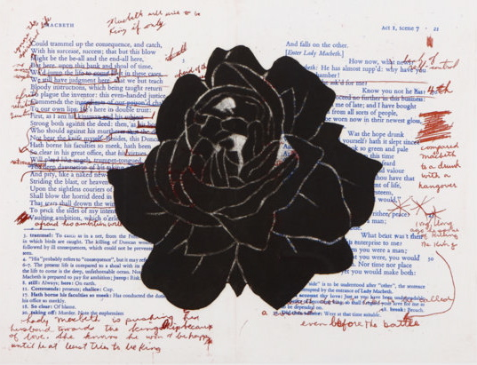 Jane Buyers, Notes on Macbeth: Enter Lady Macbeth, 2004. Lithograph, etching, chine colle. 81.5 x 102 cm. Photo credit: Laura Arsie. (Via Numero Cinq, used with permission.)