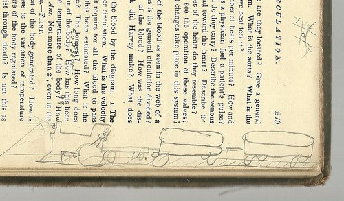 Following another train of thought: 100-year-old graffiti in a textbook on human physiology (via