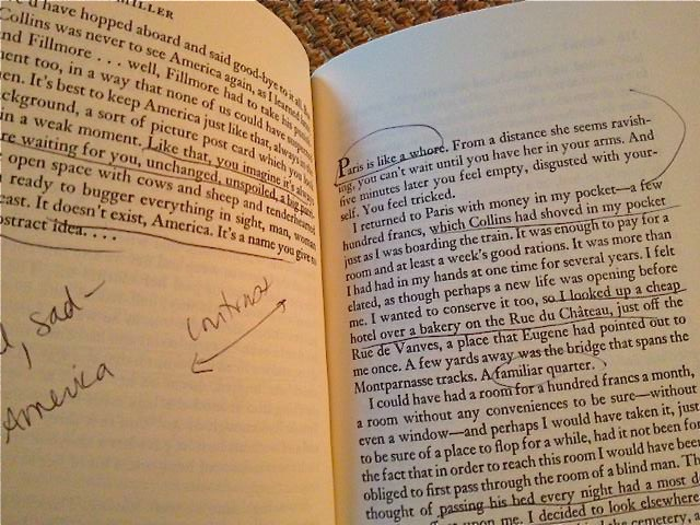 Megan Mayhew Bergman's marked-up copy of Henry Miller's The Tropic of Cancer (shhhh, don't tell Seinfeld's Bookman the Library Cop)