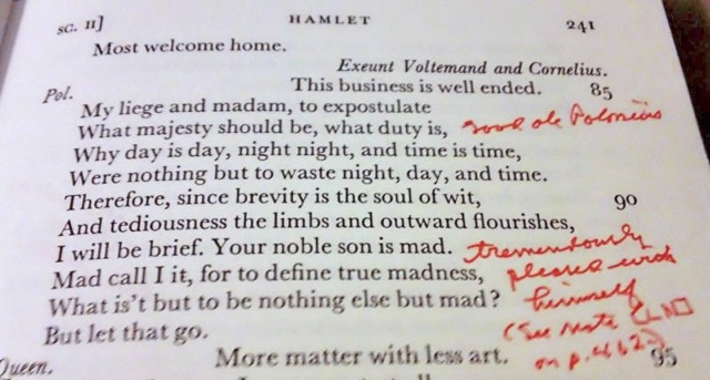 """Toni's late grandfather's notes on Hamlet (and """"good ole Polonius"""" too)."""