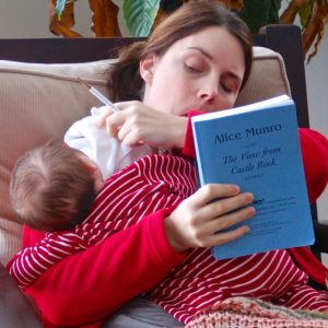 Book-reviewing with Baby on Board.