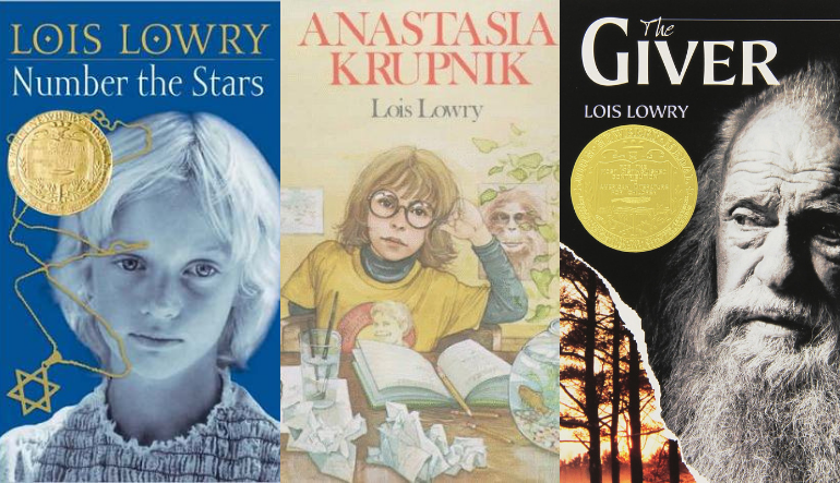 Three book covers, left is a blue hued image of a child with white hair and a gold star of David necklace, center is a drawing of a girl sitting at a desk with an open journal and crumpled pages, right is a black and white image of an old man with a long wiry beard and a tall tree against an orange sky